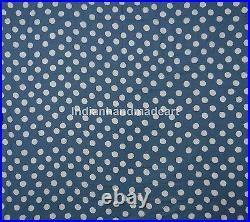 Polka Dot Hand Block Printed 100% Cotton Natural Indigo Blue Fabric 20 Yard Lots