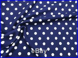 Printed Liverpool Textured 4way Stretch Fabric Sm Polka Dot Navy White J506