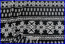 Printed Liverpool Textured Fabric 4 way Stretch Black Ivory Aztec H602