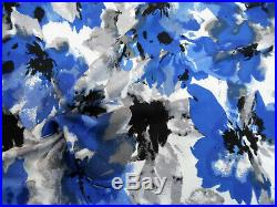 Printed Liverpool Textured Fabric 4 way Stretch Blue Gray Black Floral H501