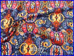 Printed Liverpool Textured Fabric 4 way Stretch Navy Orange Red Paisley I702