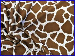 Printed Liverpool Textured Fabric 4 way Stretch Scuba Giraffe Brown K208