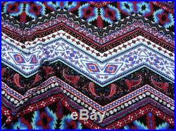 Printed Liverpool Textured Fabric Stretch Chevron Paisley Aztez Burgundy I506