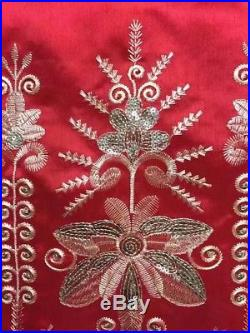 Red George Lace Fabric Nigeria Embroidered Sequins Lace African 2Yards Net Tulle