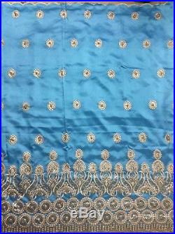 Sky Blue Tulle Lace Fabric African George Sequins Fabric French Lace With Beaded