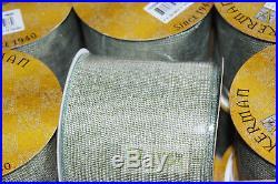 Vickerman 4x30' (10 Yards) Ribbon Sage Mesh Gold Lot x12 (360ft total)