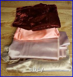 Vintage 1990s Velveteen Satin Polyester Lining Fabric Pink Gold 1 & 2 Yard Lots