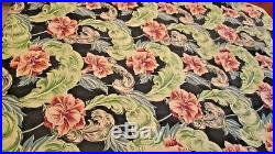 Vintage Barkcloth Fabric Reproduction NEW Feather Floral Black coral 3 Yards LOT