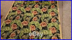 Vintage Barkcloth Fabric Reproduction NEW Feather Floral Black coral 4 Yards LOT