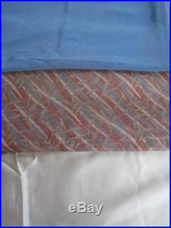 Vintage Fabric 1980's SILK from Japan Lot 3 pcs 12+ Yards Solid Print Blue Cream