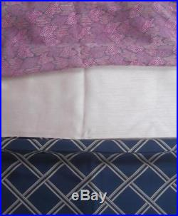 Vintage Fabric Lot 3 pcs 1980's SILK from Japan 12 Yards Solid Print Navy Pink