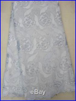 WHITE 4 DESIGNS 100% COTTON SWISS VOILE BRIDAL DRESS LACE FABRIC 5 YDS LOT