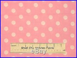 White On Pink Lots-A-Dots Polka Dot Geometric Circle Dots Cotton Fabric YARD