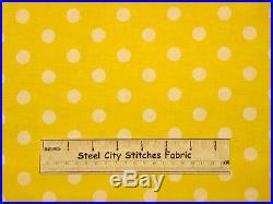 White Polka Dots Yellow Geometric Circle Lots A Dots #47580 Cotton Fabric YARD